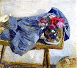 Edouard Vuillard  - Bilder Gemälde - Red Roses and a Cloth on a Table
