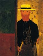 Edouard Vuillard  - Bilder Gemälde - Self-Portrait with Cane and Straw Hat