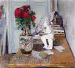 Edouard Vuillard  - Bilder Gemälde - Statuette by Mailliol and Red Roses II