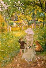 Edouard Vuillard  - Bilder Gemälde - Sunny Morning, Lucy Hessel and Denise Natanson in the Garden at Les Pavillons, Villerville