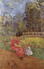 Edouard Vuillard  - Bilder Gemälde - Woman and Child in a Garden