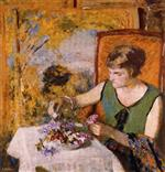 Edouard Vuillard  - Bilder Gemälde - Woman with Flowers