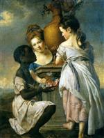 Joseph Wright of Derby - Bilder Gemälde - A Conversation between Girls