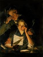 Joseph Wright of Derby - Bilder Gemälde - A Girl Reading a Letter with an Old Man Reading over Her Shoulder