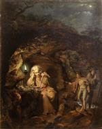 Joseph Wright of Derby - Bilder Gemälde - A Philosopher by Lamp Light