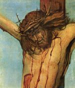 Albrecht Altdorfer - paintings - Christ on the Cross between Mary and St. John (Detail)