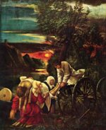 Albrecht Altdorfer - paintings - The Martydrom of St. Florian (Detail)