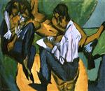 Ernst Ludwig Kirchner - Bilder Gemälde - Artist Sketching with Two Women