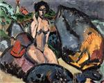 Ernst Ludwig Kirchner - Bilder Gemälde - Bather between Rocks