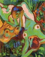 Ernst Ludwig Kirchner - Bilder Gemälde - Bathing in the Wiese