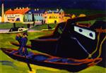Ernst Ludwig Kirchner - Bilder Gemälde - Boats on the Elbe near Dresden