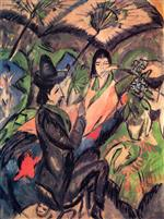 Ernst Ludwig Kirchner - Bilder Gemälde - Couple under a Japanese Umbrella
