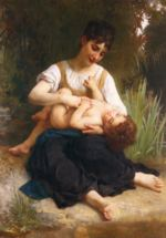 William Bouguereau - paintings - The Joys of Motherhood (Girl Tickling a Child)