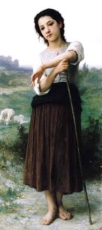 William Bouguereau - paintings - Young Shepherdess Standing