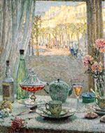 Henri Le Sidaner - Bilder Gemälde - A Table by the Window, Reflections