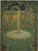 Henri Le Sidaner  - Bilder Gemälde - Garden in the full moon