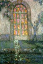 Henri Le Sidaner  - Bilder Gemälde - Glass Door on the Garden