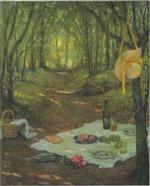 Henri Le Sidaner  - Bilder Gemälde - Lunch in the Woods at Gerberoy