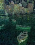 Henri Le Sidaner  - Bilder Gemälde - Moonlight on the Harbor