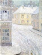 Henri Le Sidaner  - Bilder Gemälde - Old Houses in the Snow, rue Petigny