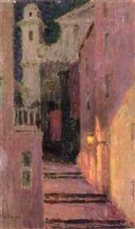 Henri Le Sidaner  - Bilder Gemälde - Street to the Church in the Moonlight