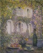 Henri Le Sidaner  - Bilder Gemälde - Table at the Mansion with Flowers