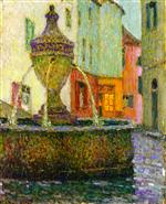 Henri Le Sidaner  - Bilder Gemälde - The Fountain, Saint-Paul-de-Vence