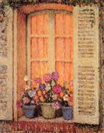 Henri Le Sidaner  - Bilder Gemälde - Window with Three Pots