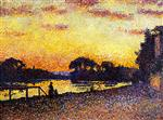 Maximilien Luce - Bilder Gemälde - Banks of the Seine at Herblay, Sunset