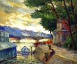 Maximilien Luce - Bilder Gemälde - Banks of the Seine at Paris