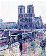Maximilien Luce - Bilder Gemälde - Banks of the Seine with Notre-Dame in the Rain