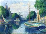 Maximilien Luce - Bilder Gemälde - Barges on a Canal at Rotterdam