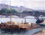 Maximilien Luce - Bilder Gemälde - Barges on the Seine
