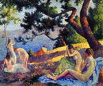Maximilien Luce - Bilder Gemälde - Bathers by the Sea