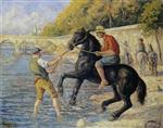 Maximilien Luce - Bilder Gemälde - Bathing Horses in the Seine