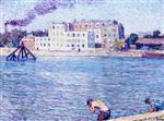 Maximilien Luce - Bilder Gemälde - Bathing on the Banks of the Marne