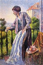 Maximilien Luce  - Bilder Gemälde - Madame Luce on the Balcony