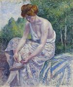 Maximilien Luce  - Bilder Gemälde - Monlineaux, Young Woman putting on Sandal