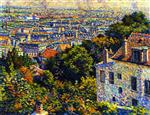 Maximilien Luce  - Bilder Gemälde - Montmartre, from the Rue Cortot, View towards Saint-Denis