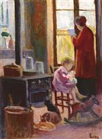 Maximilien Luce  - Bilder Gemälde - Mother and Child in the Kitchen