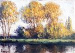 Maximilien Luce  - Bilder Gemälde - Rolleboise, Trees on the Banks of the River