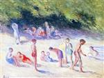Maximilien Luce  - Bilder Gemälde - Swimming at Mericourt