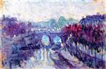 Maximilien Luce  - Bilder Gemälde - The Pont Neuf and the Small Arm of the Seine
