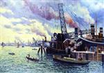 Maximilien Luce  - Bilder Gemälde - The Port of Rotterdam