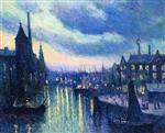 Maximilien Luce  - Bilder Gemälde - The Port of Rotterdam at Night