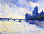 Maximilien Luce  - Bilder Gemälde - The Thames and the Houses of Parliament, London