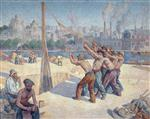 Maximilien Luce  - Bilder Gemälde - Workers on the Quai de la Seine at Billancourt