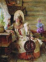 Konstantin Egorovich Makovsky - Bilder Gemälde - A Young Boyarina at the Window