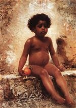Konstantin Egorovich Makovsky - Bilder Gemälde - Arab Boy with an Orange