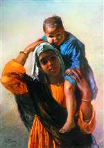 Konstantin Egorovich Makovsky - Bilder Gemälde - Arab Woman with a Child